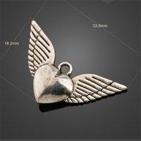 Angel Heart Wings Spacer Charm Bear Bear Подвески 200 шт. / Лот Античный Серебряный Сплав Сплав Ручной Ювелирные Изделия Компоненты DIY L189 331 Q2