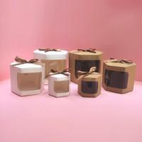 Hediye Paketi 10 adet Kek Kutusu Ambalaj Kağıt Torbaları ile Temizle PVC Pencere Doğum Günü Kız Tatlılar Kraft Şerit Paket sunar