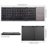 Cross border popular folding touch three fold ultra-thin iPad tablet Bluetooth Keyboard