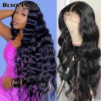 Black Pearl Body Wave 360 Fronal Brazilian 4x4 Encerramento Pré-arrancado Lace Front Human Wigs