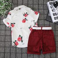 子供の服セット夏の子供たちのスーツのローズプリントシャツツーピーススーツを送るベルトファッションカジュアルウェアボーイパンツかわいい赤ちゃんTシャツ