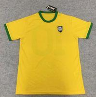 # 10 PELE 1970 Dünya Kupası Brasil Retro Futbol Jersey Vintage Klasik Antika Antik Koleksiyonu 70 Futbol Gömlek Ev Sarı Futebol