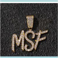 Collares colgantes joyería-z nombre personalizado cepillo letras de fuente personalizar collar cadena oro sier bling zirconia hombres hip hop colgante joyería