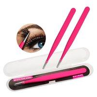 Eyelash Curler Professional Fake Eyelashes Tweezer Eyebrow Extension Straight Tweezers With Waterproof Box Package