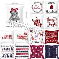 Christmas Party Decorations 45*45cm Pillows Covers Square Cushion Santa Claus Printing Decorative Pillow Case Sofa Home Decor