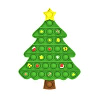 Silicone Cartoon Christmas Tree Push Bubble Sensory Toy Anti-stress Relaxing fidget Autism Toys Stress Relieve Educational for Adult Kid Xmas Gifts FY3273