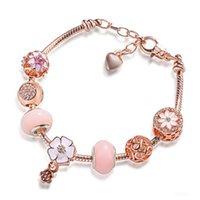 Charm Bracelets DIY Special Fashion Pink Flower Clover Large Hole Pearl Snake Bone Bracelet Love Women's