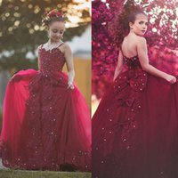 Kids Flower Girl Dress Wine Red Tulle Party Princess Gown For Wedding Birthday TuTu First Communion Dresses