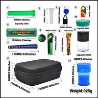 Borsa di tabacco Premium Set Plastica Smoks Herb Grinder Storage Barattolo Metallo Tin Silicone Sumering Pipe Bovino con una macchina per laminazione di Dugout