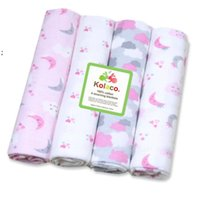 Newborn Blanket Baby waddle Bath Towels Flannel Cotton Towels Air Condition Towel Cartoon Printed Swaddling Stroller Cover 1Set 4pcs OWF7794