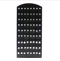 72pcs 1 Set Fashion Hot Rhinestone Zirconia Stainless Steel Stud Earring for Women Display Boards Wholesale Jewelry Lots