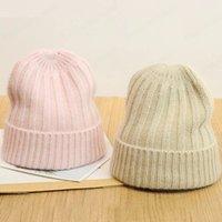 Women Autumn Winter Twist Hat fashion Unisex Solid Color Real Rabbit Fur Beanies Knit Bonnet Acrylic Autumn Warm cap