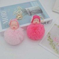 key ring Cute doll hair ball keychain bag pendant car ornaments cartoon plush