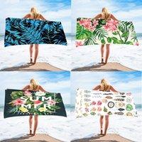 Microfiber Fabric Relax Tropical Summer Leaf Flowers Towel Ocean Swimming Sitting Bath Shower Picnic Capet Yoga Mats Multifunctional Beach Towels Rectangle