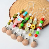 Baby Silicone Teether Cactus Rainbow Sunflower Pacifier Holders Wooden Newborn Chain Clip Teething Nipple Kids Chew Toy