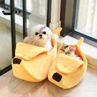 Mascota plátano forma cama perro mamada estera duradera acogedora perrito perrito cojín cesta cálido gato portátil kawaii camas gatitos alfombrillas muebles