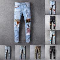 21SS MENS WOMENS Designer Jeans Distressed Ripped Biker Slim Gerade Denim für Männer S Druck Armee Mode Mans Skinny Hose ES6962