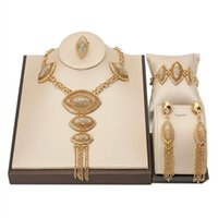 Earrings & Necklace Nigerian Wedding Woman Accessories Jewelry Set Wholesale Fashion African Beads Brand Dubai Gold Bridal