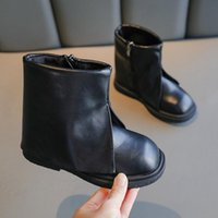 Boots Girls Leather Shoes Fashion Short Autumn Solid Color Big Girl Non-slip Kids Princess Ankle SXY040
