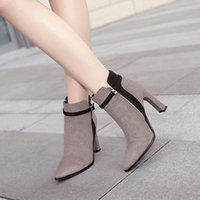 Boots Womem Shoes Autumn And Winter Suede Women Pointed Stiletto High Heels All-match Black Short Tube FD-117
