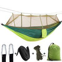 휴대용 1-2 사람 캠핑 해먹 모기장 넷 울트라이트 매달려 침대 강한 베어링 트리 텐트 스윙 잠자는 게으른 가방 텐트와 셸