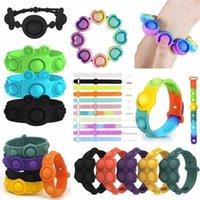 Fashion Party Fun Little Gift Rainbow Work Stress Relief Flip Key Ring Jigsaw Press Finger Bubble Band Silikon Armband