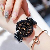 Wristwatches Women Starry Sky Watches Black Magnetic Mesh Band Stainless Steel Quartz Wristwatch Ladies Female Roman Number Diamond Watch