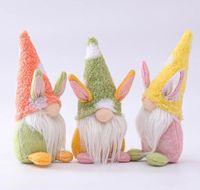 Pâques Bunny Gnome à la main Swedish Tomte Rabbit Peluche Jouets Poupée Ornements Maison de vacances Décoration Enfants Cadeau Fy7600