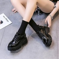 Dress Shoes 2021 Spring Lace Up Leather Women Chunky Heel Oxford Round Toe Platform Mary Jane Zapatillas Mujer Single