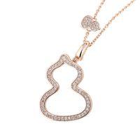 Qee Petite Wulu Calabaza Collar Mujer Pure Plateado Pure Gold Gold Mini Gourd Diamond Diamond-Incrusted Collarbone Cadena de Cuello