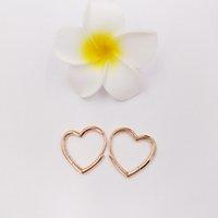 Authentic 925 Sterling Silver Studs Asymmetric Heart Hoop Earrings Fits European Pandora Style Studs Jewelry ps2094