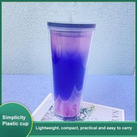 Mugs 710ml Coffee Cup Summer Holiday Cold Water Mug Tumbler With Straw Double Layer Plastic Reusable Tazas Kitchen