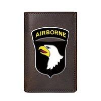 Personalità Portafoglio in pelle genuina per uomo di lusso di alta qualità 101st Airborne Division Borse maschili Breve sacchetti di sacchi di denaro