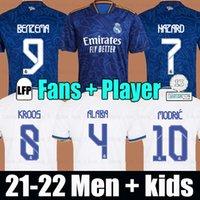 레알 마드리드 유니폼 탑 태국 벤제마 축구 22 22 팬 선수 버전 축구 셔츠 Alaba 위험 Casemiro Modric 2022 Camiseta Men + 키트 키트 세트 유니폼