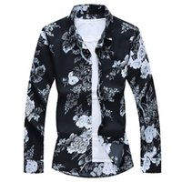 Beach Casual black and white flowes Floral Shirt For Man soccer jersey Spring Clothes Men Long Sleeves M-XXL