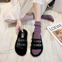 Slippers Personality Metal Winter Women Fur Keep Warm Bedroom Cotton Shoes 2021 Flat Indoor Casual Ladies Slides