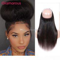 Capelli dritti brasiliani 360 chiusura 22.5x4x3 chiusure rotonde in pizzo glamour capelli brasiliani vergine dei capelli umani part 360 frontali