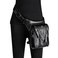 Sacos de cintura Norbinus PU couro rebite homens saco skull steampunk perna motocicleta multifuncional punk rock mulheres ombro cruz
