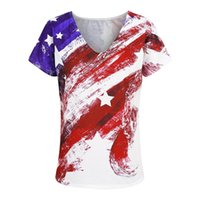 Female Tee Shirt Tops Ameriacn Flag Print Short Sleeve V Neck Summer Tshirt Women 2021 Fashion Casual Loose T-shirt D30 Women's