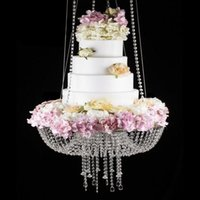 Other Festive & Party Supplies Fashion Hanging Acrylic Clear Crystal Beads Cake Stand For Wedding Event Birthday Decortion