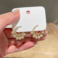 Hoop & Huggie Korea Design Fashion Jewelry Copper Inlaid Zircon Round Metal Ball Pendant Tassel Earrings Elegant Women All-match
