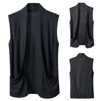 Men's Vests LUCLESAM 2021 Men Fashion Dark Sleeveless Cardigan Male Casual Lapel Waistcoat Colete Masculino Gilet Homme