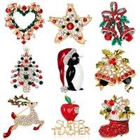 Broque de Natal em linha reta Brooch Tree Collar Botas Boneco de Neve Sleigh Bell Broche Coleção de Natal