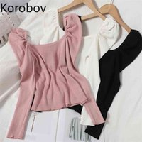 Korobov Preppy Style Sweet Women Puff Sleeve Sweaters Pullovers Chic Sueter Mujer Korean Elegant Square Collar Jumper 210809