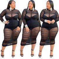 Malla de mujer Negro Años de manga larga Vestidos plisados Casual Ropa de clubes Vestido flaco Thin Transparente Transparente Longitud de la pantorrilla Vestido
