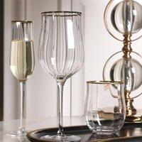 Sevgililer Günü Lale kurşunsuz kristal cam dikey kaburga kokteyl suyu yaratıcı şarap bardakları