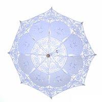 2021 Neue Ankünfte Braut Hochzeit Sonnenschirme weiße Spitze Regenschirme Chinesische Handwerksschirme Durchmesser 45 cm 29 cm großhandel