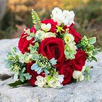زهور الزفاف 2021 باقة يدويا لصنع خطاباتخطابهزوجات الزفاف القابضة بتلات روز العروس اكسسوارات وصيفه الشرف