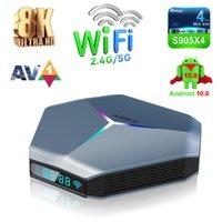 A95X F4 Caixa de TV Android 10,0 Amlogic S905x4 2.4G 5G WiFi 2T2R Quad Core 6 RGB Light A55 8K Media Player