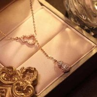 Pendant Necklaces Luxury Zircon Inlaid Lucky Double Gourd Gold Color Stainless Steel Women Female Chokers Clavicle Chain Jewelry